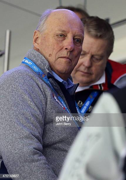 King Harald V of Norway attends the Men's Ice Hockey Qualification Playoff game between Norway and Russia on day eleven of the Sochi 2014 Winter...