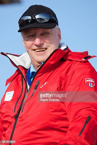 King Harald V of Norway attends the Norwegian Skiing Championship on March 29 2014 in Gala Norway