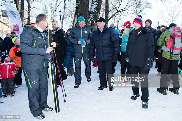 King Harald V of Norway attends Winter Games activities outside the Royal Palace while celebrating his 25th anniversary as King of Norway on January...