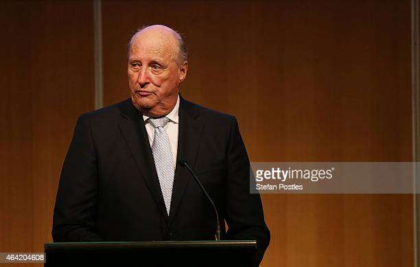 King Harald V of Norway gives closing remarks at the NorwegianAustralian Defence Industry Seminar at the Hyatt Hotel on February 23 2015 in Canberra...