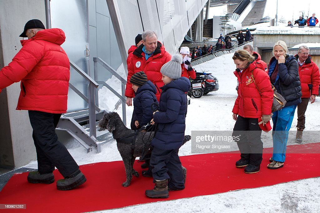 King Harald V of Norway, Prince Sverre Magnus of Norway, Princess Ingrid Alexandra of Norway, Queen Sonja of Norway and Princess Mette-Marit of Norway attend FIS World Cup Nordic Holmenkollen 2013 on March 17, 2013 in Oslo, Norway.