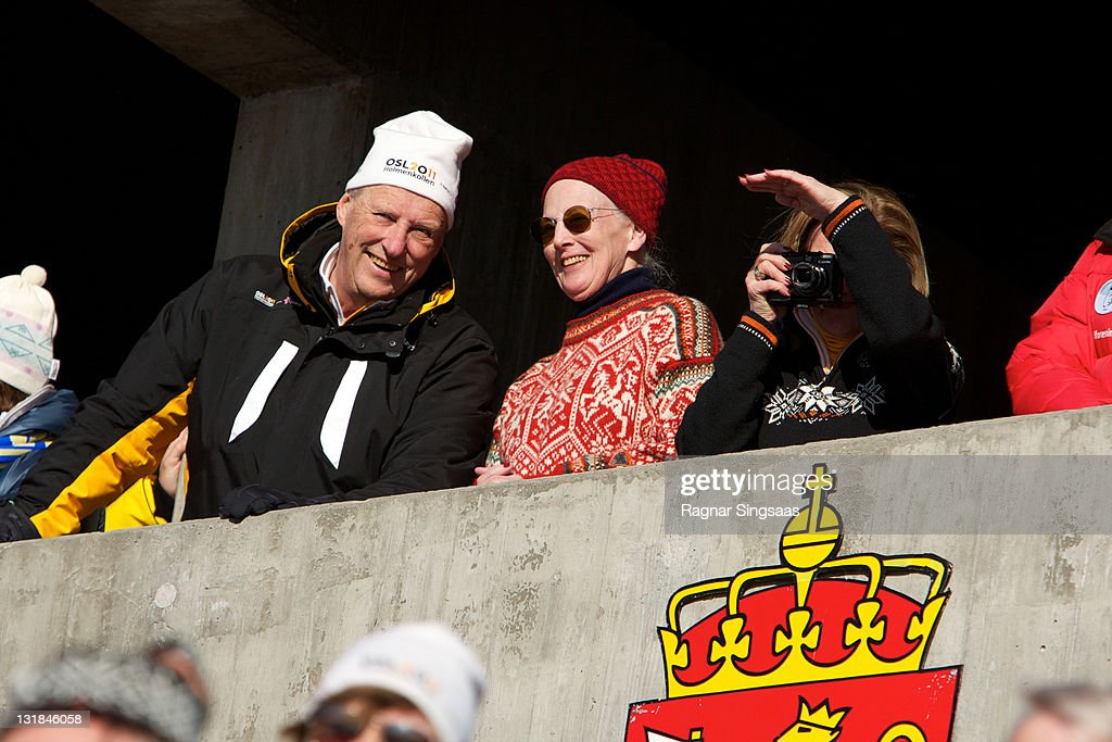 King Harald V of Norway Queen Margrethe II of Denmark and Queen Sonja of Norway attend the Ladie's 30km Mass Start Free in the FIS Nordic World Ski...