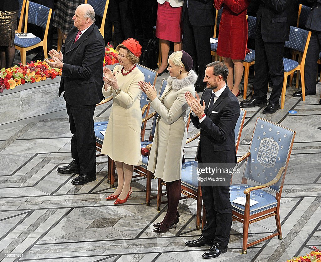 King Harald V of Norway, Queen Sonja of Norway, Crown Princess Mette Marit of Norway and Crown Prince Haakon of Norway at The Nobel Peace Prize Ceremony at Oslo City Hall on December 10, 2012 in Oslo, Norway.