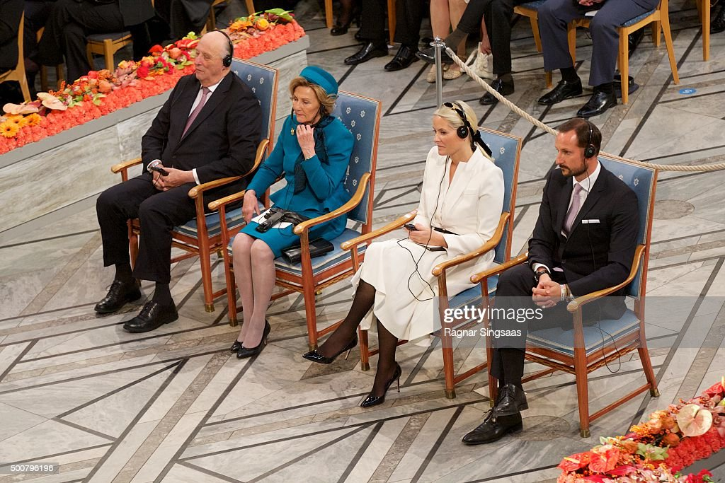 King Harald V of Norway, Queen Sonja of Norway, Crown Princess Mette-Marit of Norway and Crown Prince Haakon of Norway attend the Nobel Peace Prize ceremony at Oslo City Town Hall on December 10, 2015 in Oslo, Norway.