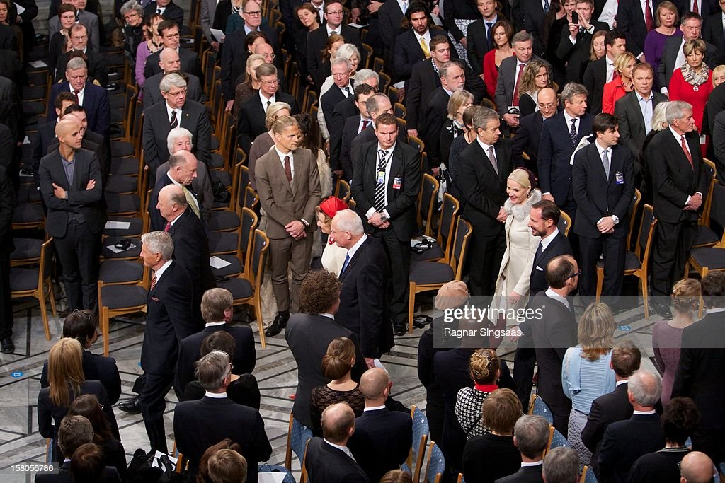 King Harald V of Norway, Queen Sonja of Norway, Princess Mette-Marit of Norway and Prince Haakon of Norway attend The Nobel Peace Prize Ceremony at Oslo City Hall on December 10, 2012 in Oslo, Norway.