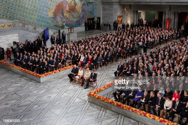 King Harald V of Norway Queen Sonja of Norway Princess MetteMarit of Norway and Prince Haakon of Norway attend The Nobel Peace Prize Ceremony at Oslo...