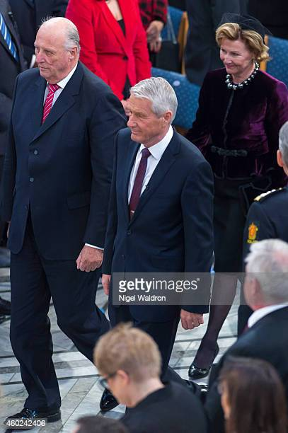 King Harald V of Norway Thorbjorn Jagland of Norway and Queen Sonja of Norway attend the Nobel Peace Prize ceremony to honour this year Nobel Peace...