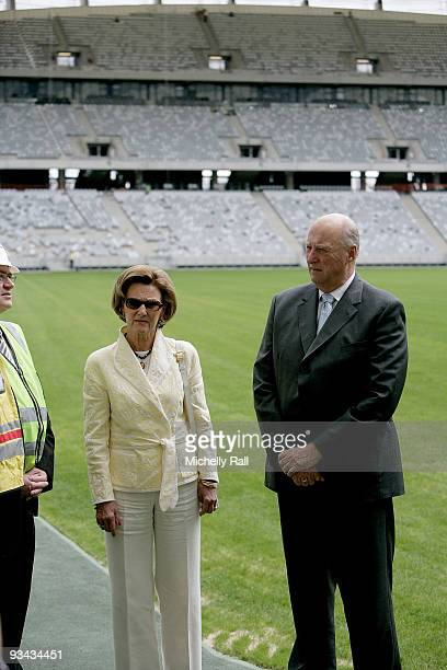 King Harald Vand Queen Sonja of Norway visit Green Point Stadium one of the 2010 FIFA World Cup soccer venues on November 26 2009 in Cape Town South...