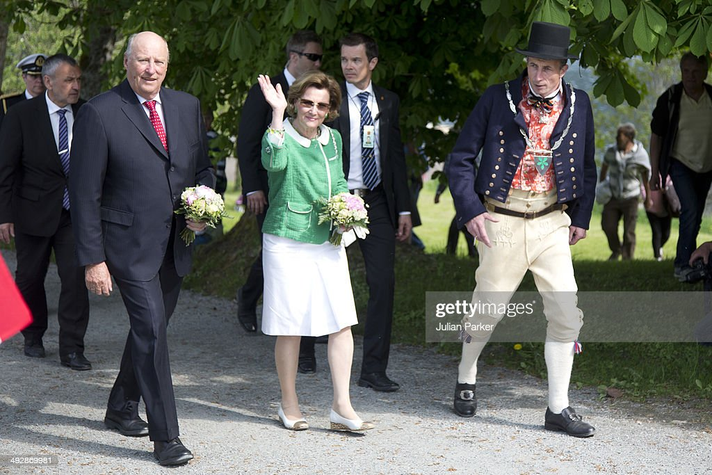 King Harlad of Norway and Queen Sonja of Norway visit the community of Tingvoll on May 21, 2014 in More And Romsdal County, Norway. King Harald And Queen Sonja Of Norway are on a two day visit of the county of More & Romsdal in Norway.