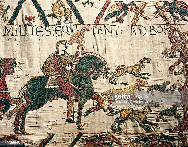 King Harold heading towards the coast detail of Queen Mathilda's Tapestry or Bayeux Tapestry depicting Norman conquest of England in 1066 France 11th...