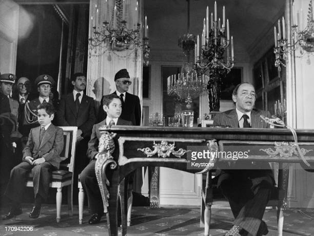 King Hassan II of Morocco giving a press conference at Le Grand Trianon palace near Versailles during an official visit to France 25th November 1976...