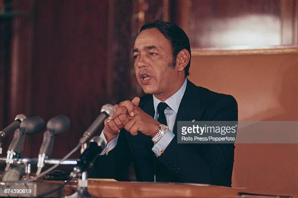 King Hassan II of Morocco pictured speaking at a press conference in 1971