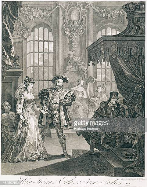 'King Henry the Eigth Anna Bullen' 18th century Henry VIII holds the hand of Anne Boleyn On the right the unhappy Pope Clement VII looks at the...