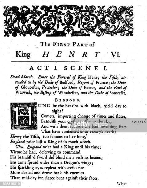 King Henry VI Act 1 Scene 1 circa 1723 King Henry VI Act 1 Scene 1 by William Shakespeare Jacob Tonson founder of a publishing house that dominated...