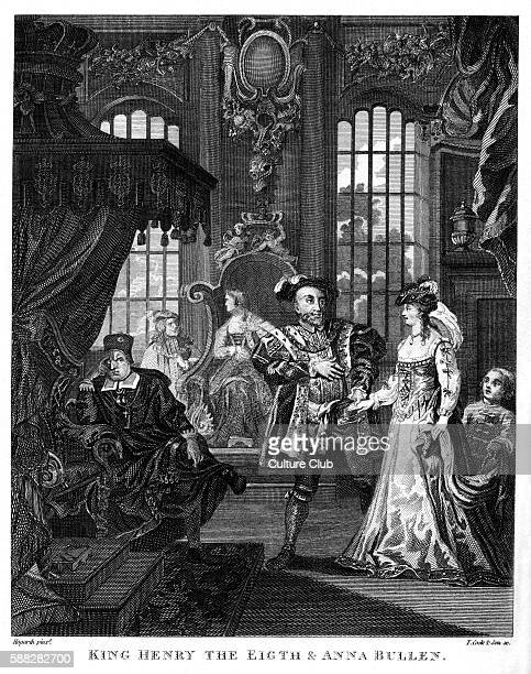 King Henry VIII and Anne Boleyn by William Hogarth Engraved by T Cook son Boleyn spelt Bullen 1729 HVIII King of England from 21 April 1509 until his...