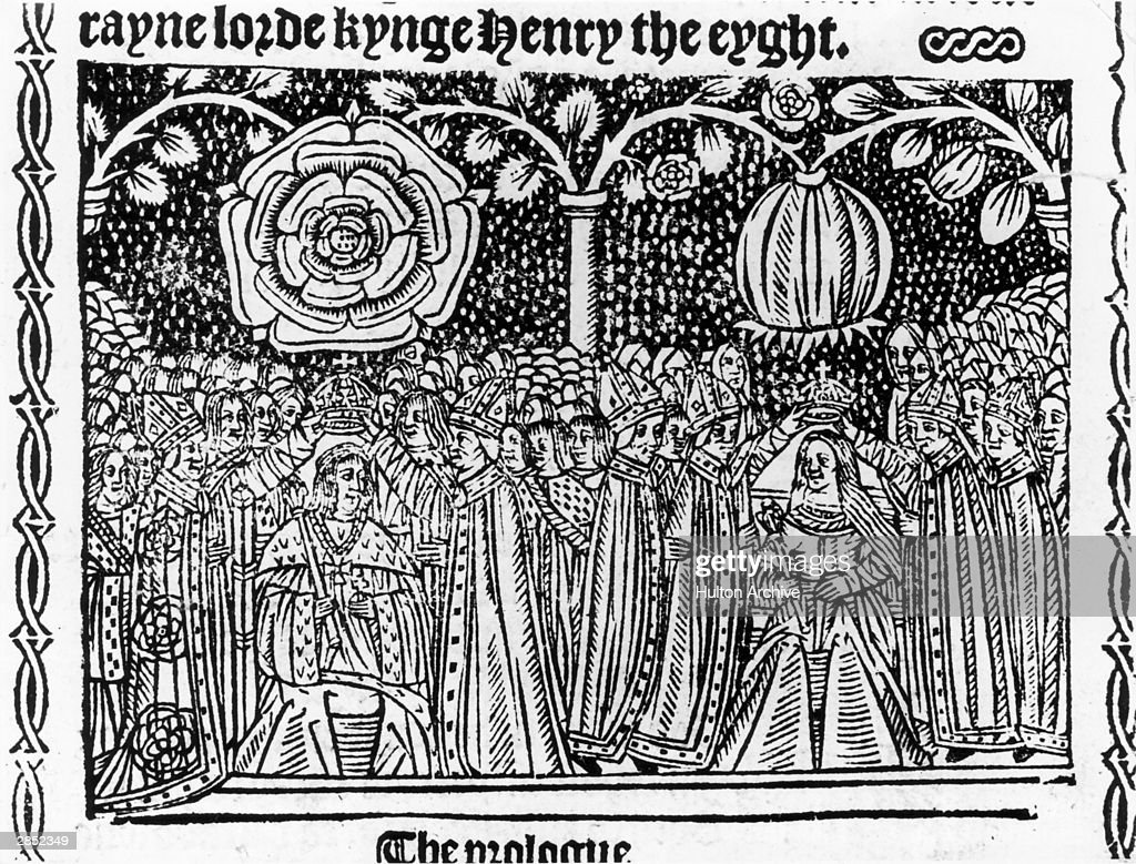 King Henry VIII (1491 - 1547) and his wife Catherine of Aragon (1485 - 1536) are crowned at Westminster Abbey, June 1509. They are surmounted by Tudor Roses, one open, one in bud.