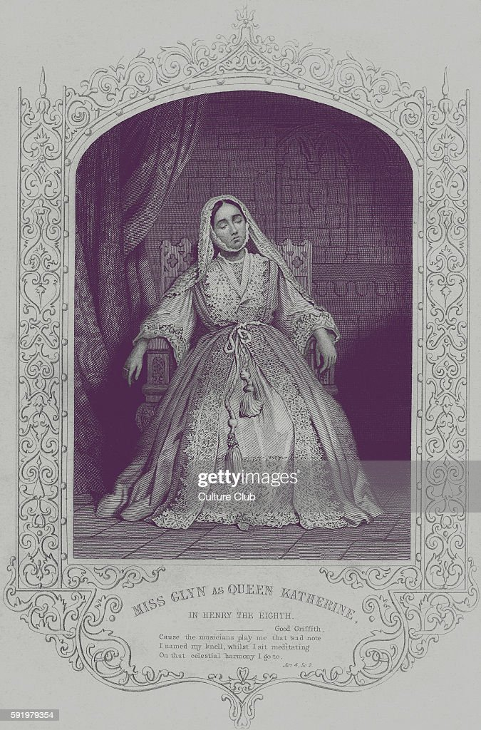 King Henry VIII Miss Glyn as Queen Katherine in Act IV Scene II of Henry EighthCaption reads 'Good Griffith Cause the musicians play me that sad...