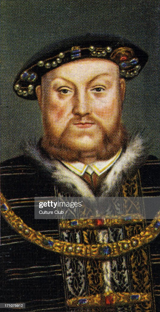 King Henry VIII portrait (Reigned 1509 - 1547). King Henry married six wives and executed two of them. In order to marry Anne Boleyn, he split from the Catholic to form his own Church. From Player's cigarette cards, from the painting in the National Portrait Gallery, based on the portrait by Hans Holbein.