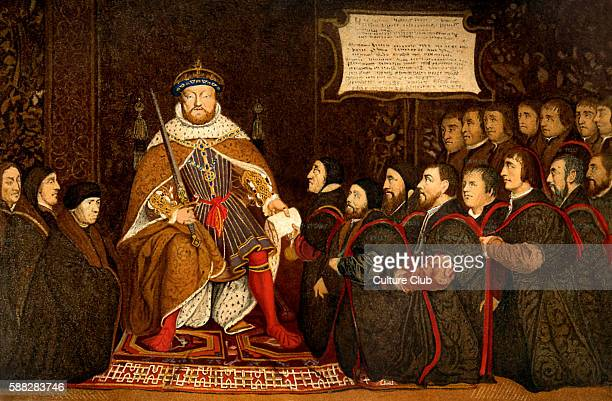 King Henry VIII Seen at the creation of the Barber Surgeons Guild in 1540 Illustration after Holbein c 1543