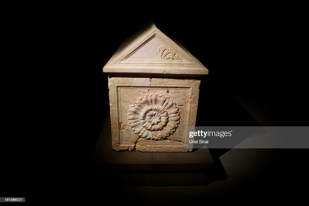 King Herod's sarcophagus is displayed at the 'Herod the Great' exhibition as it opens at the Israel museum on February 12, 2013 in Jerusalem, Israel. The exhibition is devoted to the architectural legacy of King Herod, the Jewish proxy monarch who ruled Jerusalem and the Holy Land under Roman occupation two millennia ago.