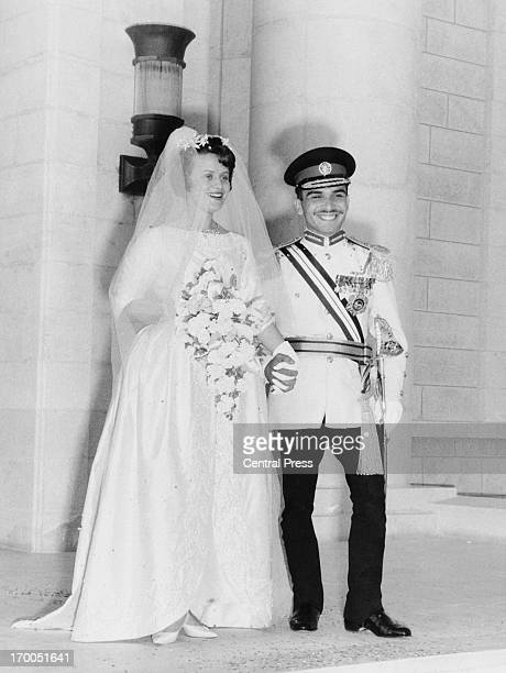 King Hussein and Antoinette Gardiner leaving the Zahran Palace after their wedding ceremony Amman Jordan 29th May 1961
