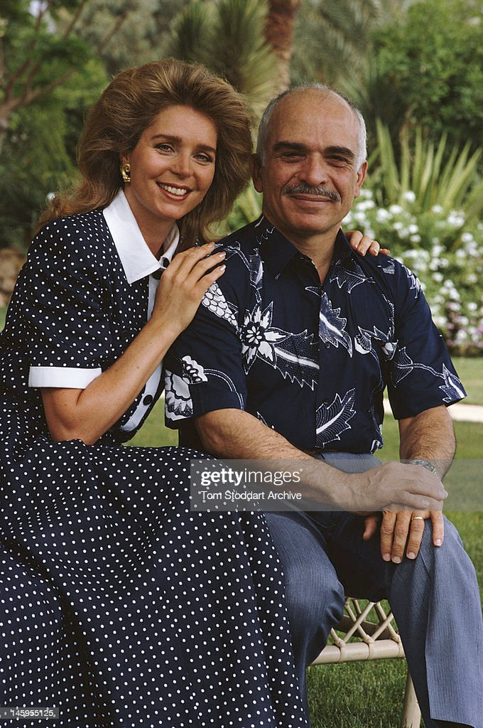 <a gi-track='captionPersonalityLinkClicked' href=/galleries/search?phrase=King+Hussein&family=editorial&specificpeople=93663 ng-click='$event.stopPropagation()'>King Hussein</a> of Jordan and his wife <a gi-track='captionPersonalityLinkClicked' href=/galleries/search?phrase=Queen+Noor+of+Jordan&family=editorial&specificpeople=160326 ng-click='$event.stopPropagation()'>Queen Noor of Jordan</a>, in Jordan, circa 1987.