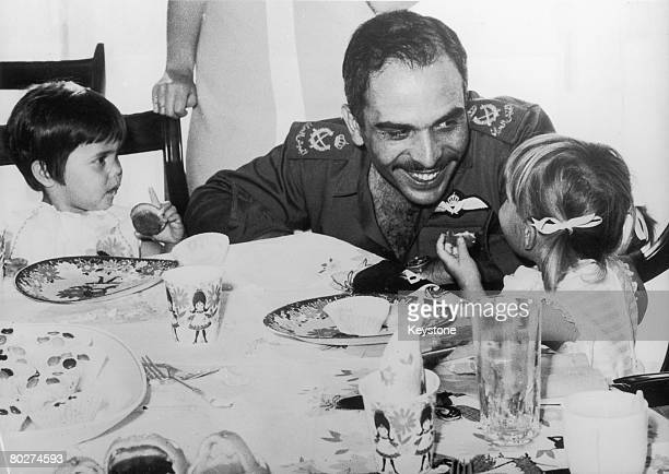 King Hussein of Jordan celebrates the second birthday of his twin daughters Princess Zein and Princess Aisha 23rd April 1970