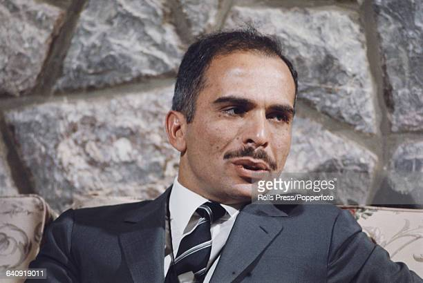 King Hussein of Jordan conducts a press conference in Amman Jordan following a period of fighting between Jordanian Armed Forces under his command...