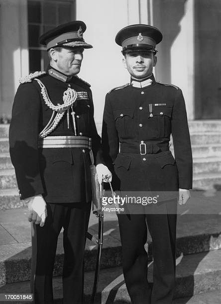 King Hussein of Jordan during a passing out parade at Sandhurst Berkshire February 1953