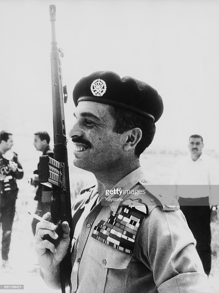 <a gi-track='captionPersonalityLinkClicked' href=/galleries/search?phrase=King+Hussein&family=editorial&specificpeople=93663 ng-click='$event.stopPropagation()'>King Hussein</a> of Jordan (1935 - 1999) holding an automatic weapon whilst taking part in a live fire exercise at a rifle range of the Royal Guards Brigade in Jordan, May 1970.