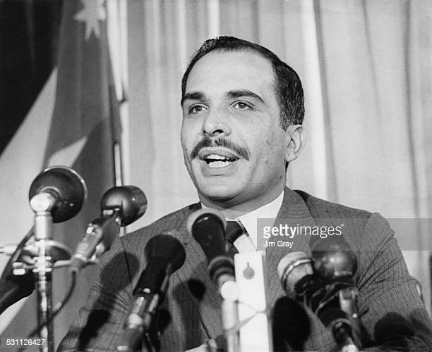 King Hussein of Jordan holds a press conference in London 21st April 1969
