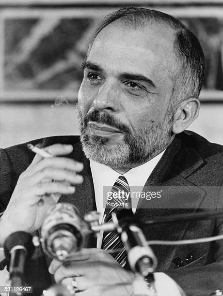 King Hussein of Jordan holds a press conference in Paris during his official visit to France 14th December 1978