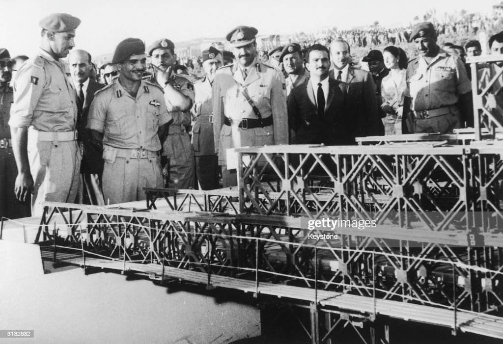 King Hussein of Jordan (1935 - 1999) inaugurates the Royal Engineering Corps exhibition at the stadium of the Jordanian University in Amman, 5th August 1969.