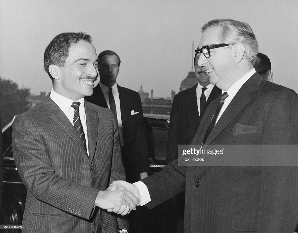 <a gi-track='captionPersonalityLinkClicked' href=/galleries/search?phrase=King+Hussein&family=editorial&specificpeople=93663 ng-click='$event.stopPropagation()'>King Hussein</a> of Jordan (1935 - 1999) is greeted by George Brown, Baron George-Brown (1914 - 1985), the British Foreign Secretary (right) at the Foreign Office in London, 1st November 1967. The King is discussing the loss of the West Bank, following the Six-Day War.