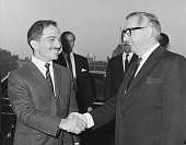 King Hussein of Jordan is greeted by George Brown Baron GeorgeBrown the British Foreign Secretary at the Foreign Office in London 1st November 1967...