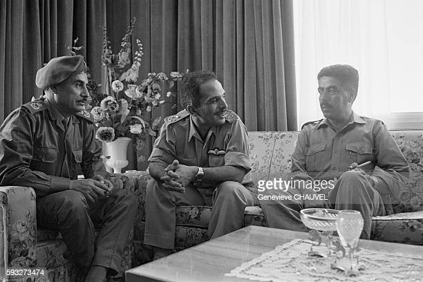 King Hussein of Jordan meets with Marshall Habes Majali and Prime Minister Wasfi Tell during the Black September coup attempt on the Jordanian...