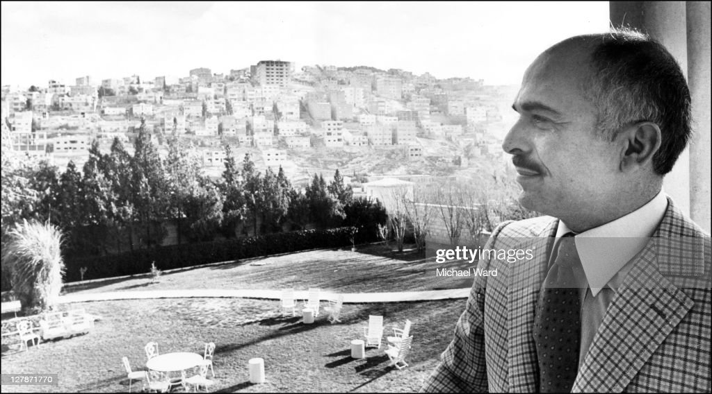<a gi-track='captionPersonalityLinkClicked' href=/galleries/search?phrase=King+Hussein&family=editorial&specificpeople=93663 ng-click='$event.stopPropagation()'>King Hussein</a> of Jordan on his palace balcony, 1981.