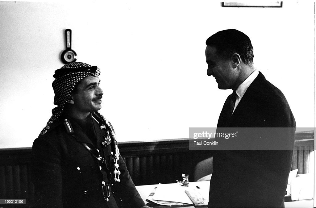 <a gi-track='captionPersonalityLinkClicked' href=/galleries/search?phrase=King+Hussein&family=editorial&specificpeople=93663 ng-click='$event.stopPropagation()'>King Hussein</a> of Jordan (1935 - 1999) (left) receives Peace Corps founder and president <a gi-track='captionPersonalityLinkClicked' href=/galleries/search?phrase=Sargent+Shriver&family=editorial&specificpeople=211145 ng-click='$event.stopPropagation()'>Sargent Shriver</a> (1915 - 2011) (right), during the latter's around-the-world trip to visit Peace Corps volunteers, Jordan, 1964.
