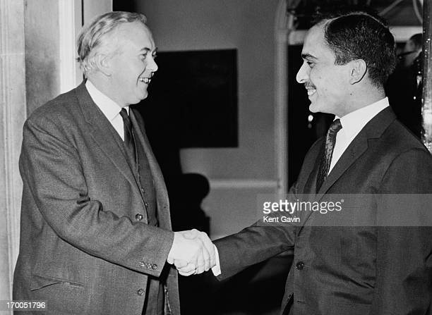 King Hussein of Jordan shakes hands with Prime Minister Harold Wilson after the pair had lunch at 10 Downing Street earlier today London 16th...
