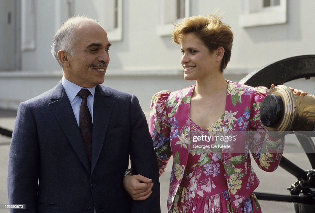 <a gi-track='captionPersonalityLinkClicked' href=/galleries/search?phrase=King+Hussein&family=editorial&specificpeople=93663 ng-click='$event.stopPropagation()'>King Hussein</a> of Jordan with his daughter Princess Aisha at Sandhurst military academy in 1987.