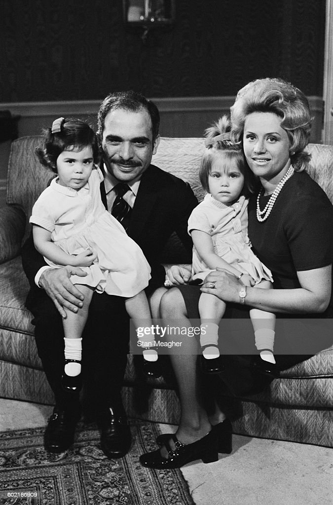 <a gi-track='captionPersonalityLinkClicked' href=/galleries/search?phrase=King+Hussein&family=editorial&specificpeople=93663 ng-click='$event.stopPropagation()'>King Hussein</a> of Jordan with his wife Princess Muna (born Antoinette Avril Gardiner), and their twin daughters Princess Aisha bint Hussein and Princess Zein bint Hussein, 11th January 1971.