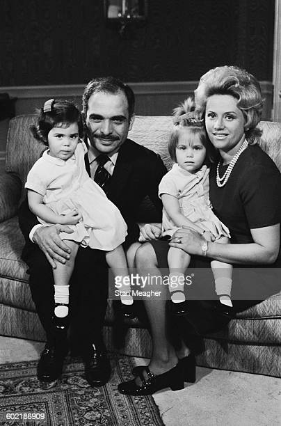 King Hussein of Jordan with his wife Princess Muna and their twin daughters Princess Aisha bint Hussein and Princess Zein bint Hussein 11th January...
