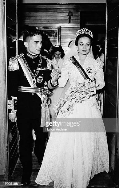 King Hussein weds Princess Dina bint 'Abdu'lHamid in Jordan 18th April 1955