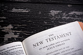 The King James Bible (public domain) open to the introduction page of the New Testament