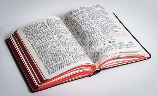 king james bible opened to the gospel of st mark stock photo