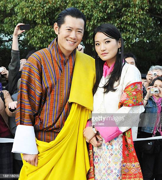 King Jigme Khesar Namgyel Wangchuck and Queen Jetsun Pema of Bhutan arrive at Meiji Jingu Shrine on November 17 2011 in Tokyo Japan