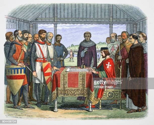 King John signs the Great Charter Runnymede Surrey 1215 John became King of England in 1199 The Angevin kings of England Henry II Richard I and John...