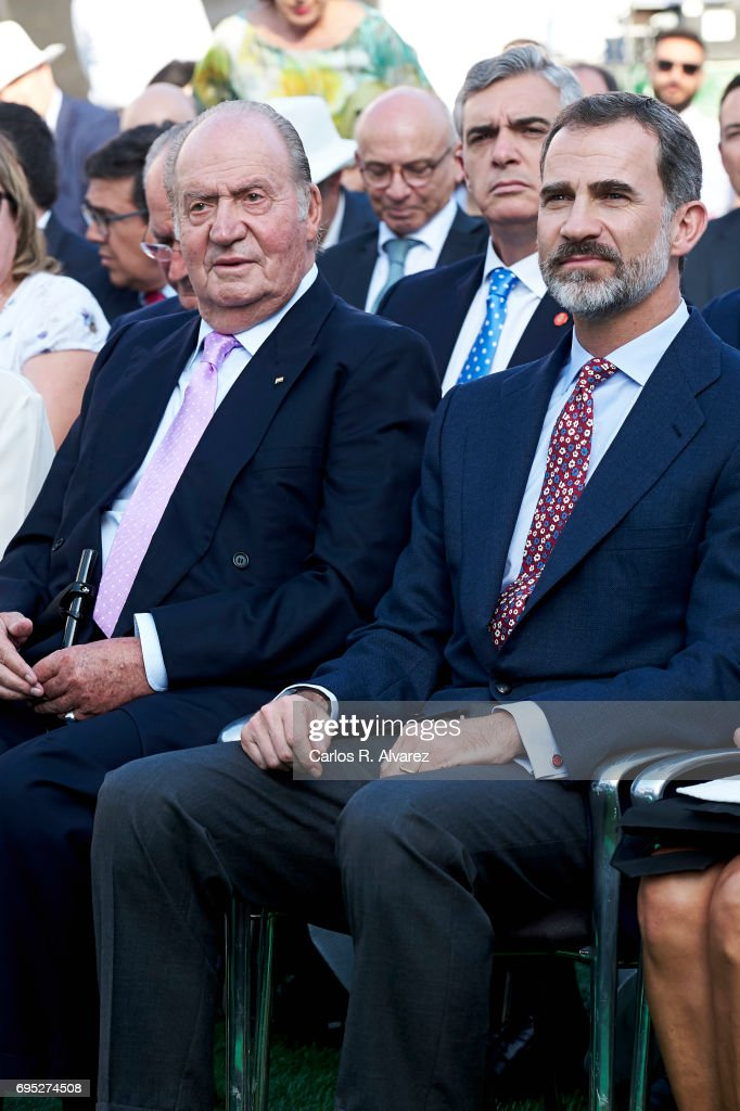 King Juan Carlos (L) and King Felipe VI of Spain (R) attend COTECT event at the Vicente Calderon Stadium on June 12, 2017 in Madrid, Spain.