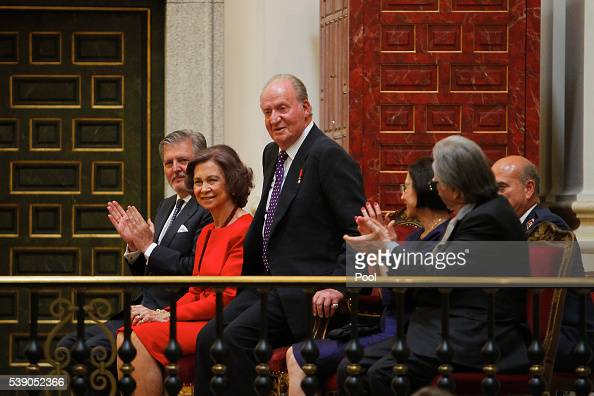 King Juan Carlos and Queen Sofia attend Simeon of Bulgaria autobiography presentation on June 9 2016 in Madrid Spain