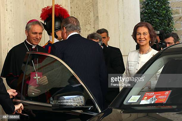King Juan Carlos and Queen Sofia of Spain are received by Prefect of the Pontifical House and former personal secretary of Pope Benedict XVI Georg...